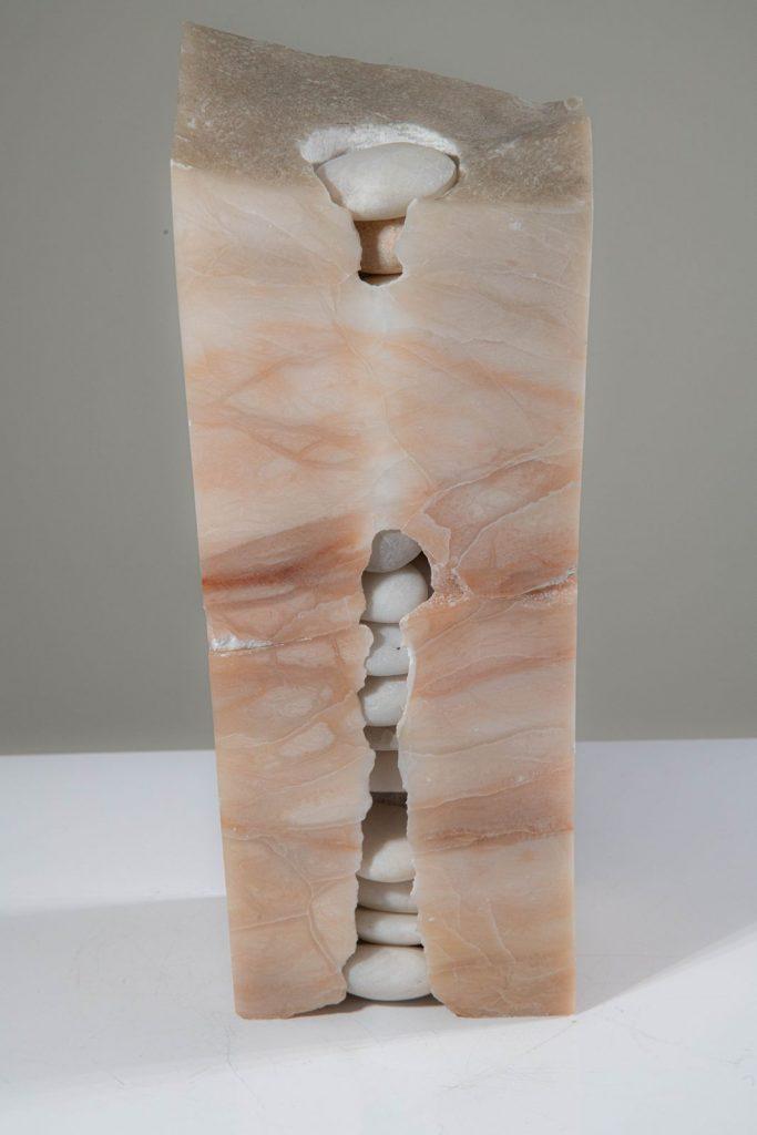"Untitled, Alabaster, Beach stone: 11""x4""x3.5"""