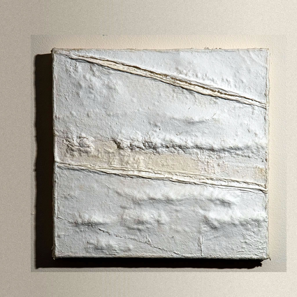 "Boundary, Cotton linters on wood: 10""x10"", 2019"