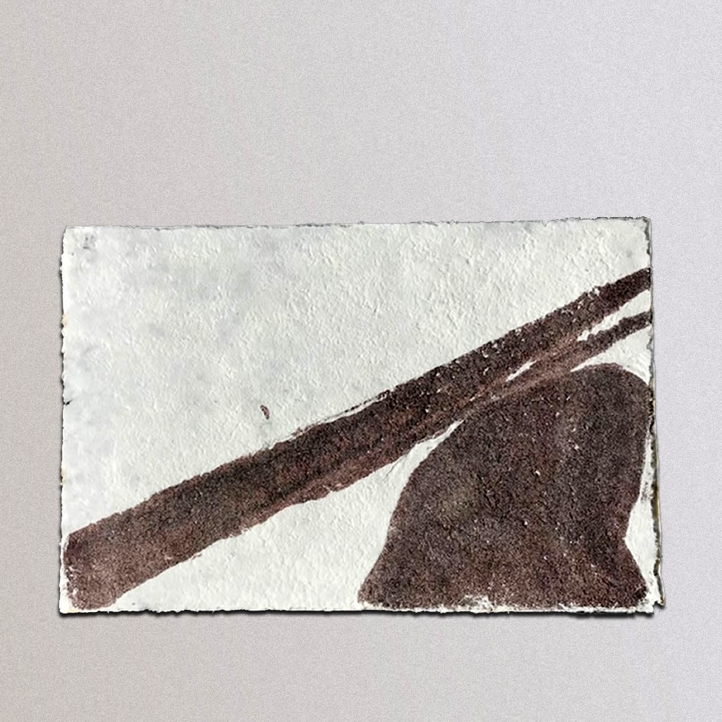 "Fallen, Cotton linters, Sand: 17""x26"", 2015"