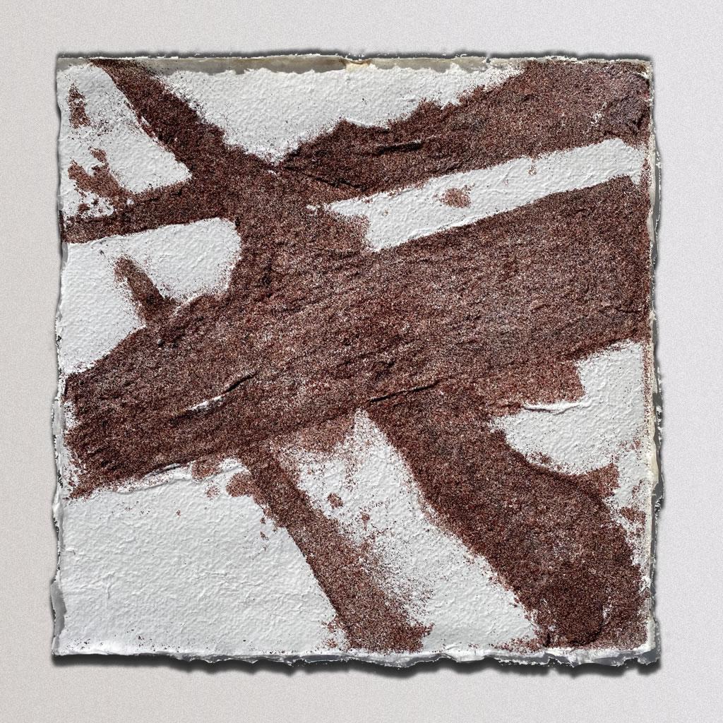 "Shadows, Cotton linters, Sand: 12""x12"", 2019"