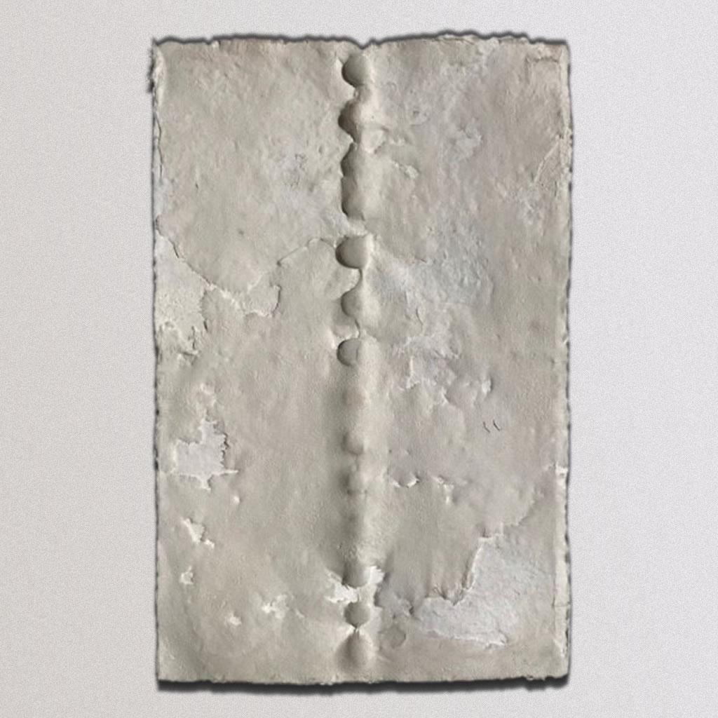 "Spine, Cotton Linters, beach stones: 17""x26"", 2012"