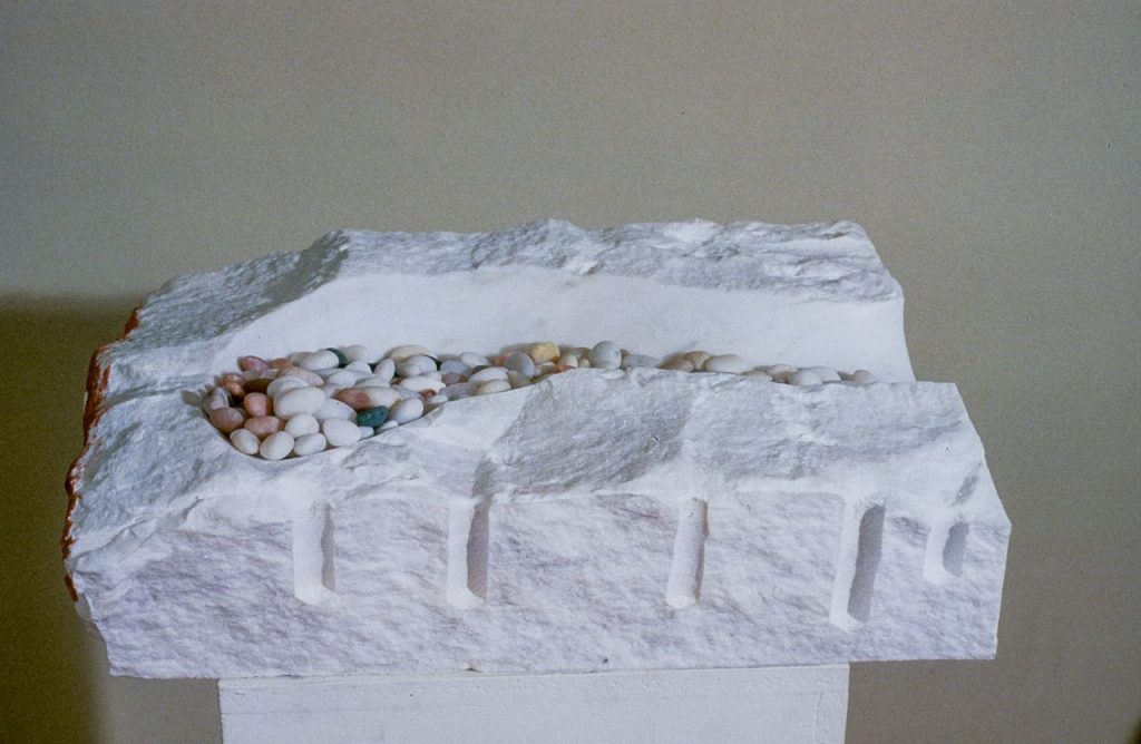 "Receptacle 2, Marble, Beach Stone: 12""x18""x4"""